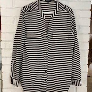 Notations ivory/black striped blouse shirt Size xl